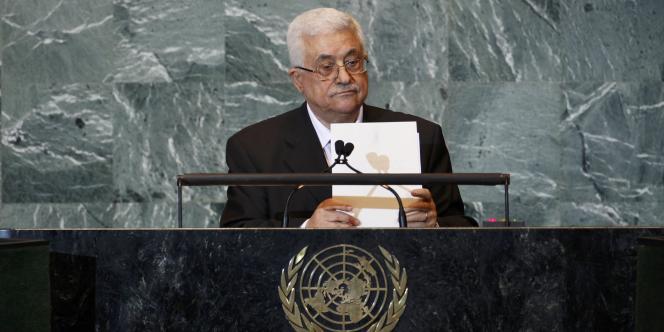 Le président palestinien Mahmoud Abbas à la tribune des Nations unies à New York, le 23 septembre 2011.