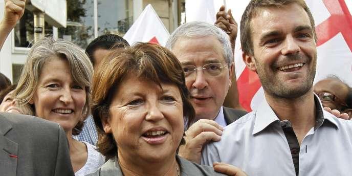 Martine Aubry, avec Bruno Julliard et Jean-Paul Huchon, lors de la manifestation des enseignants, le 27 septembre.