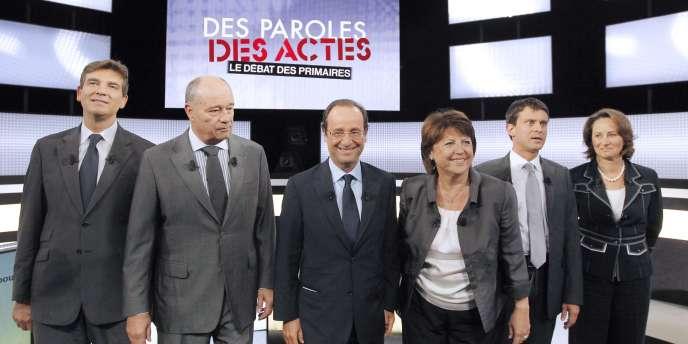 Les six candidats à la primaire du parti socialiste, le 15 septembre 2011, sur le plateau de France 2.