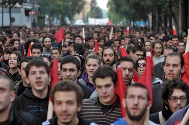 Manifestation de jeunes Grecs à Athènes.