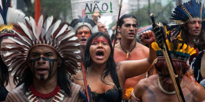 Manifestation à Sao Paulo, en août 2011,  contre la construction du barrage de Belo Monte.
