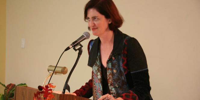 Emma Donoghue, lors d'une lecture à la London Public Library, en septembre 2010.