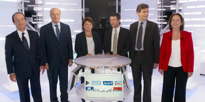 Les six candidats à la primaire PS lors du deuxième débat, mercredi 28 septembre.