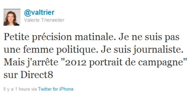 Le tweet de Valérie Trierweiler annonçant l'arrêt de son émission.