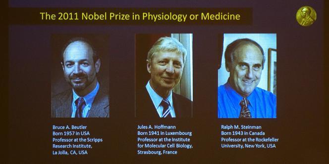 Les trois lauréats du prix Nobel de médecine.