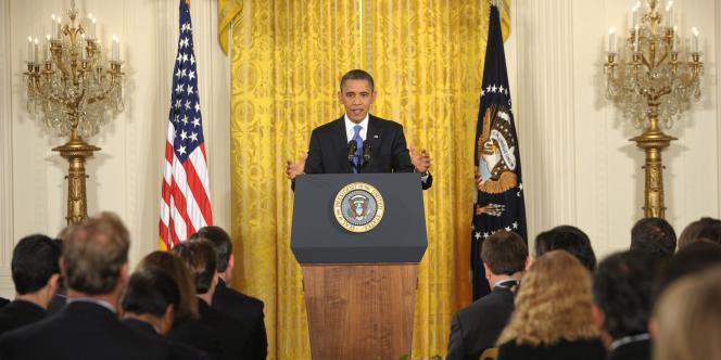 Barack Obama lors d'une conférence de presse à la Maison Blanche, jeudi 6 octobre.