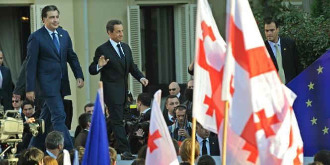 Nicolas Sarkozy et le président géorgien Mikheïl Saakashvili à Tbilissi ce vendredi 7 octobre