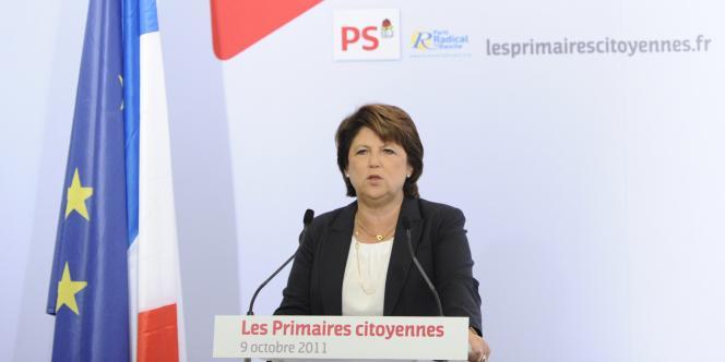 Martine Aubry s'adresse à ses partisans, dimanche soir à l'issue du premier tour de la primaire PS.