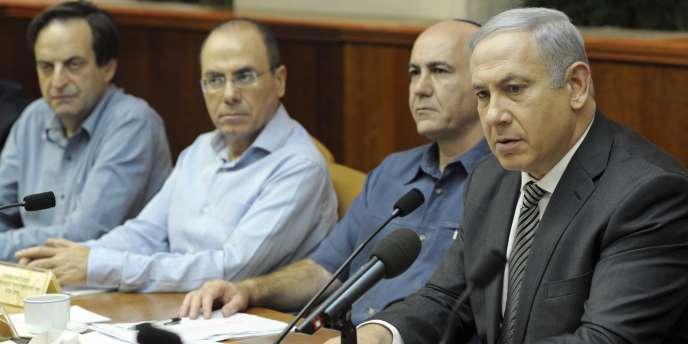 Le premier ministre israelien Benyamin Nétanyahou lors du conseil des ministres extraordinaire du 11 octobre 2011.