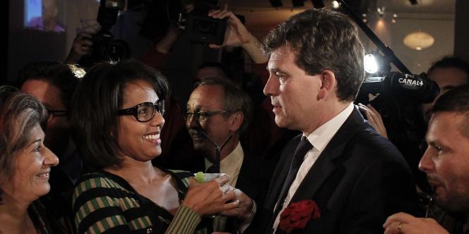 Audrey Pulvar et Arnaud Montebourg, le soir de la primaire socialiste, dimanche 9 octobre 2011.