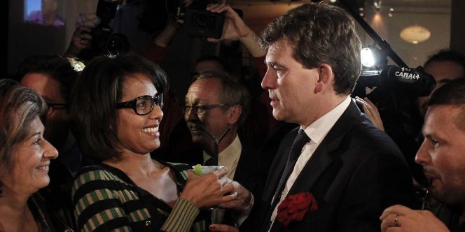 Audrey Pulvar et Arnaud Montebourg, le 9 octobre 2011, à La Bellevilloise, à Paris.