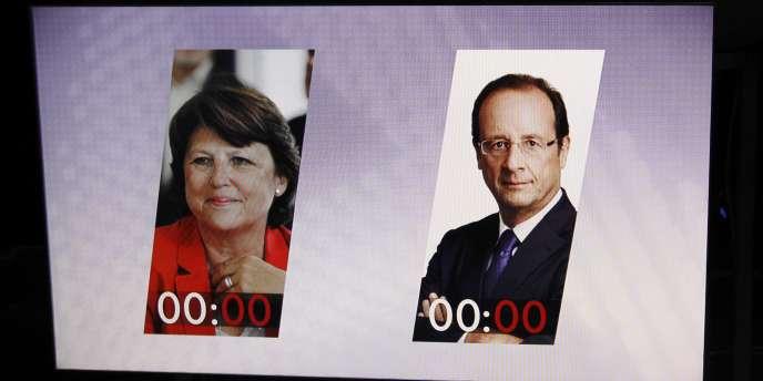 Martine Aubry et François Hollande, en débat d'entre-deux-tours de la primaire socialiste.