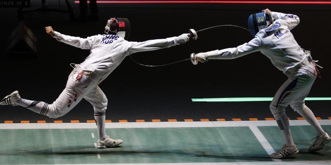 L'équipe de France masculine d'épée (ici opposée à la Corée du Sud) est devenue championne du monde samedi en battant la Hongrie en finale.