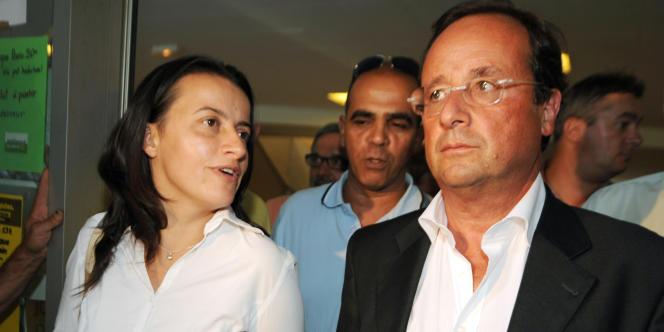 La secrétaire nationale d'Europe Ecologie-Les Verts, Cécile Duflot, et François Hollande, lors des journées d'été des Verts, le 21 août 2008.