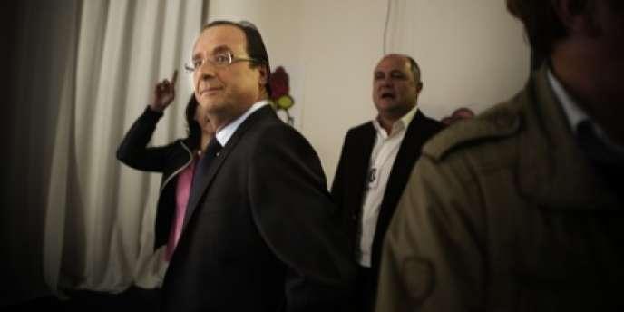 François Hollande à Solférino le 16 octobre, au second tour de la primaire