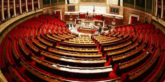 Vue de l'hémicycle de l'Assemblée nationale à Paris, en mars 2009.