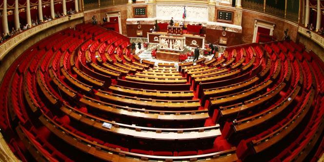 Vue de l'hemicycle de l'Assemblée Nationale le 4 mars 2009 à Paris.