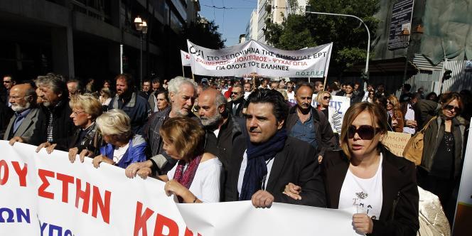 Les journalistes ont manifesté lundi 18 octobre contre le plan d'austérité du gouvernement.