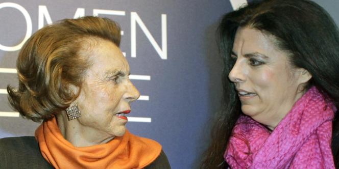 Liliane Bettencourt et sa fille Françoise Bettencourt Meyers, le 3 mars 2011.