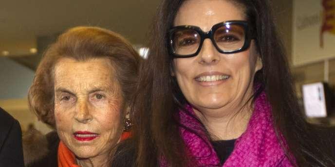 Liliane Bettencourt et sa fille Francoise Bettencourt-Meyers, en mars 2011.