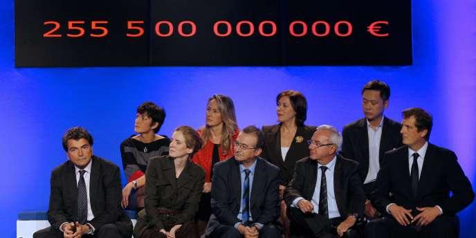 Les ministres Pierre Lellouche, Nathalie Kosciusko-Morizet, Hervé Mariton et Jean Leonetti lors de la convention de l'UMP au Pavillon Gabriel le 18 octobre à Paris.