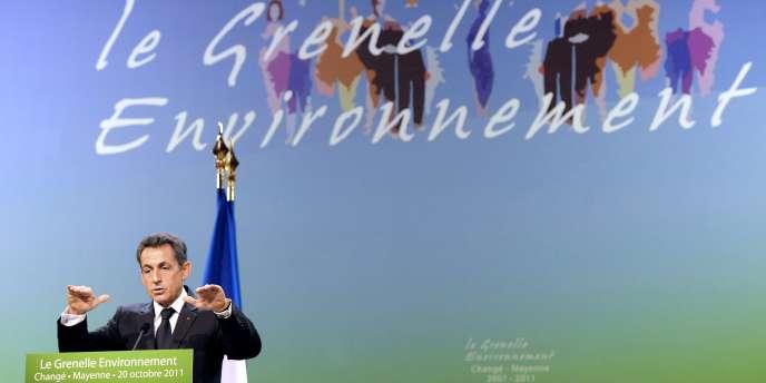 Nicolas Sarkozy à Changé (Mayenne), le 20 octobre 2011, à l'occasion des quatre ans du Grenelle de l'environnement.