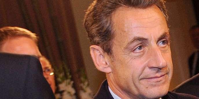 Nicolas Sarkozy à sa sortie de l'opéra de Francfort, le 19 octobre.