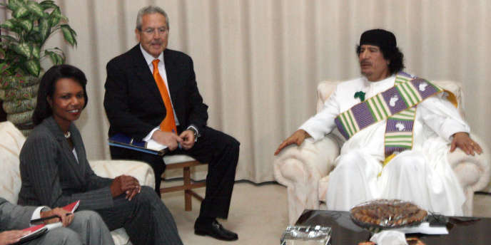 Condoleezza Rice reçue par Mouammar Kadhafi, le 5 septembre 2008.