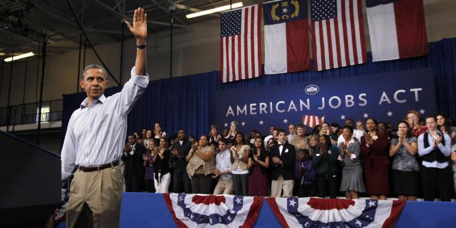 Barack Obama en tournée pour défendre son plan pour l'emploi, en Caroline du nord, le 18 octobre 2011.