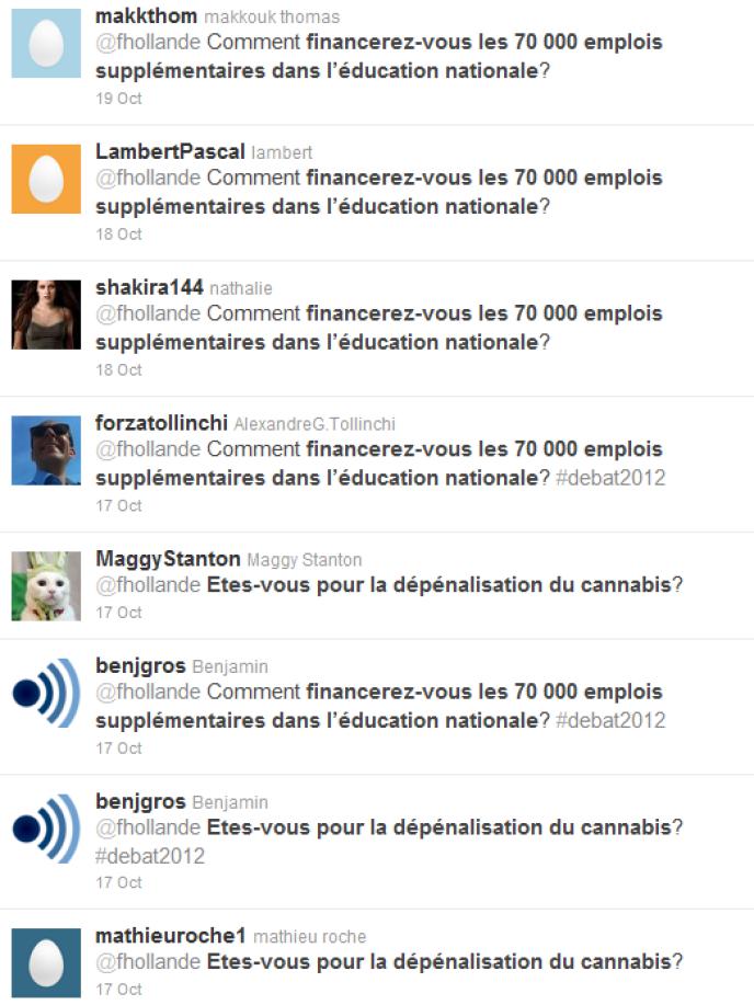 Messages automatiques adressés à François Hollande par des militants sur Twitter.