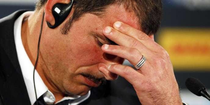 Marc Lièvremont, dimanche en conférence de presse après la défaite en finale contre les Blacks.