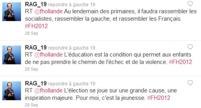 Messages automatiques diffusés par l'équipe de François Hollande sur des comptes autorisés sur Twitter.