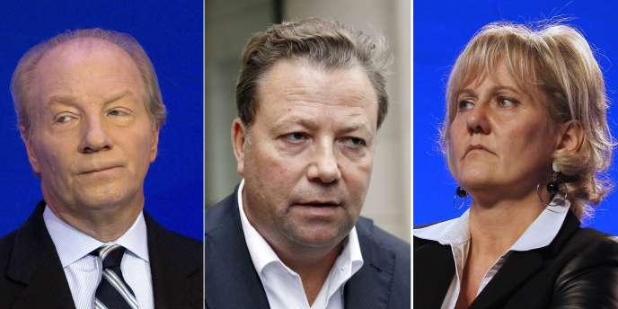 De gauche à droite : Brice Hortefeux, Olivier Morice,  l'avocat des victimes de l'attentat de Karachi, et Nadine Morano.