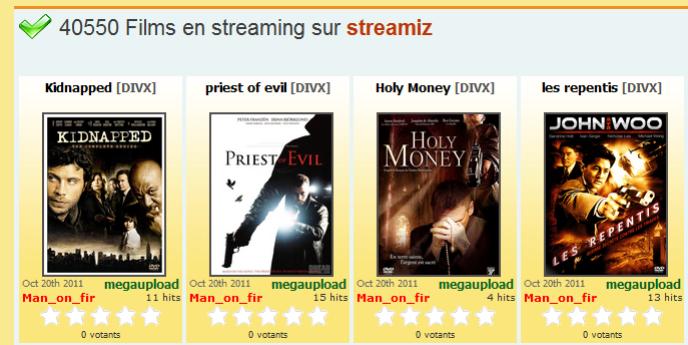 La page d'accueil de Streamiz.