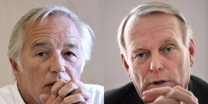 François Rebsamen et Jean-Marc Ayrault, respectivement chefs de file des sénateurs et des députés socialistes, le 27 août 2011 à La Rochelle (montage).