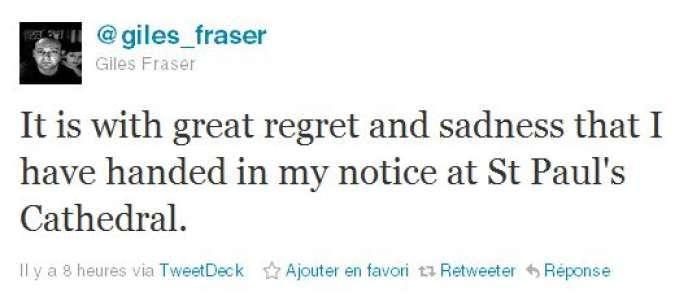 Giles Fraser a annoncé sa décision sur Twitter.