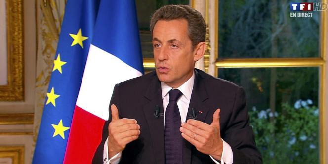 Nicolas Sarkozy lors de sa dernière intervention télévisée à l'Elysée, le 27 octobre 2011.