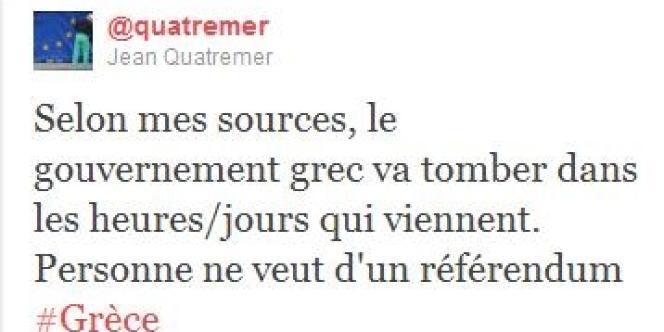 Sur Twitter, le correspondant de Libération pense savoir que le gouvernement