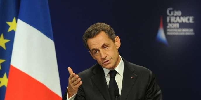 Le président français Nicolas Sarkozy lors d'une conférence de presse à l'issue de la première journée du G20 à Cannes, le 3 novembre 2011.