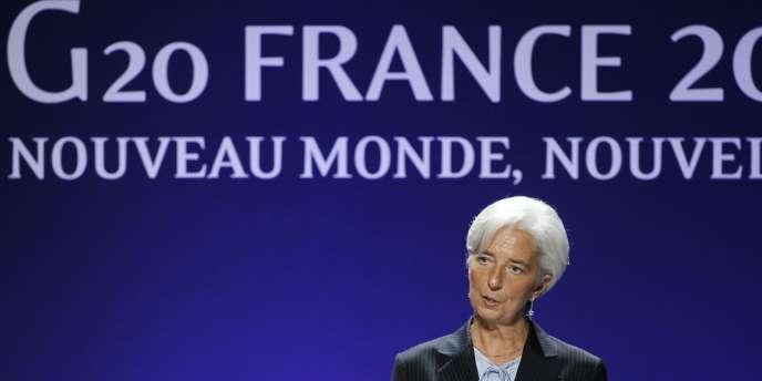 La présidente du FMI, Christine Lagarde, lors de sa conférence de presse de clôture du sommet du G20, le 4 novembre 2011.