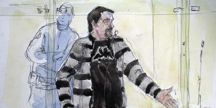 Croquis d'audience réalisé le 2 novembre 2011 de Manuel Ribeiro Alves Da Cruz, accusé du meurtre et du viol de Marie-Christine Hodeau, à Milly-la-Forêt, en septembre 2009.