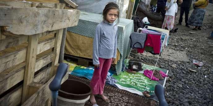 Une jeune fille d'une communauté de Roms, le 30 Juillet, dans un camp à Lyon dont une partie est menacée d'expulsion.