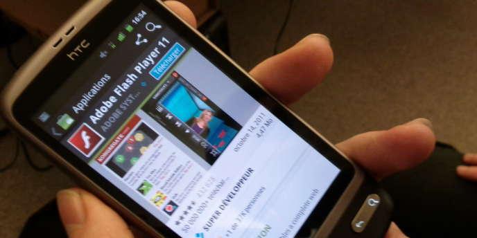 La page d'installation de Flash Player sur Android.
