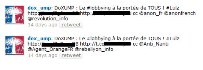 Copie des tweets publiés fin octobre par dox_ump.