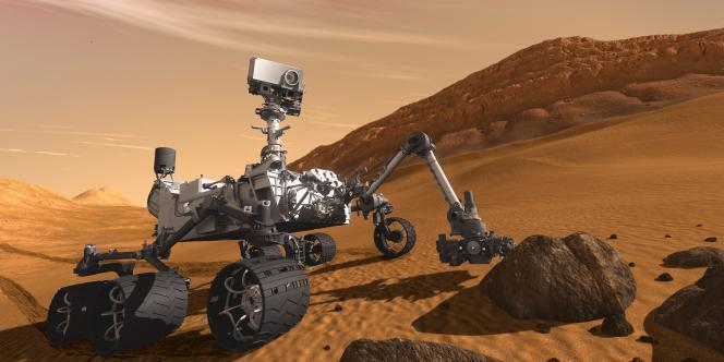 Vue d'artiste du robot Curiosity découvrant Mars. Analysant sur des images la lumière issue des versants d'un canyon martien, Jessica Flahaut y a décelé les traces d'écoulements d'eau et des sédiments hydratés.