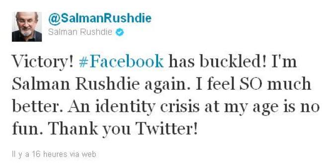 Capture d'écran d'un tweet de Salman Rushdie.