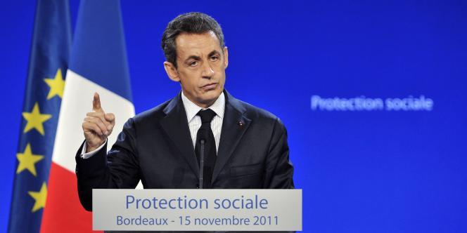 Nicolas Sarkozy lors de son discours sur la fraude sociale, à Bordeaux, mardi.