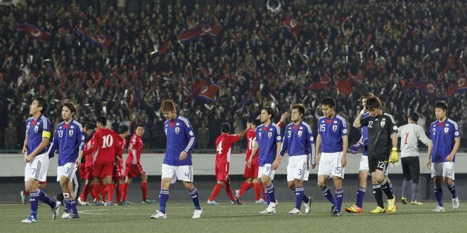 Les joueurs japonais lors de leur match en Corée du Nord.