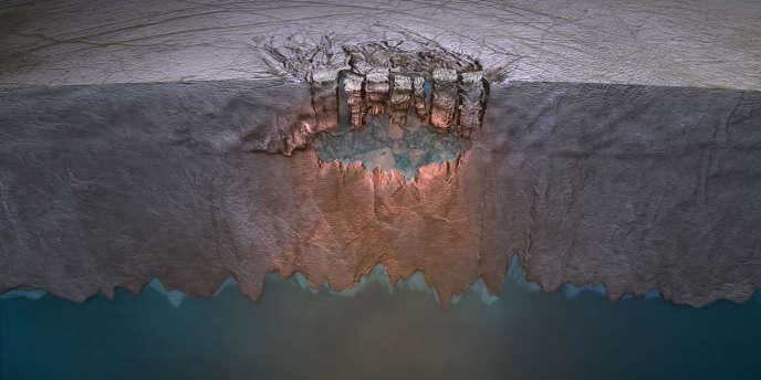 Représentation des étendues d'eau qui pourraient se trouver sous la glace recouvrant Europe, une lune de Jupiter.