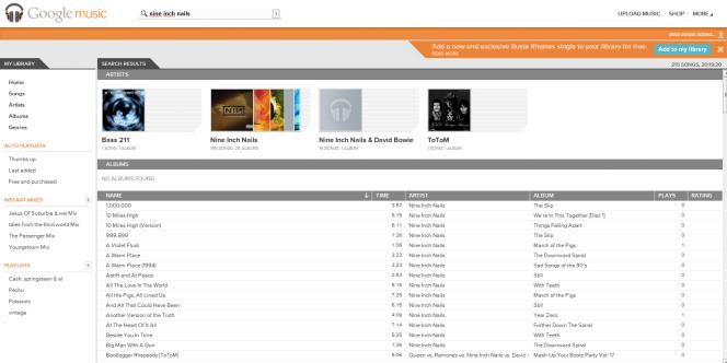 Le concurrent Google Music permet l'écoute de musique achetée à la firme ou mise en ligne par l'utilisateur.